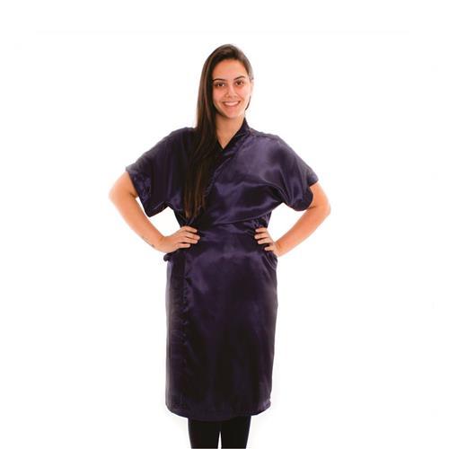 Kimono De Cetim Azul Marinho - La-Sure