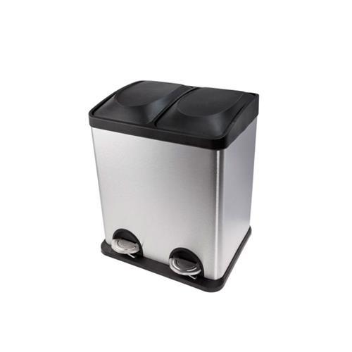 Lixeira Dupla Para Coleta De Aço Inox 30 Litros - Biovis