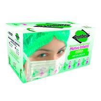 Máscara Descartável Tripla Elástico Motivo Infantil Rosa - Cx C/ 50 Un - Protdesc