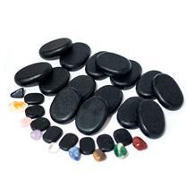 Kit De Pedras Elite Para Massagem Com 23 Pedras Vulcânicas E 9 Cristais - Shopfisio
