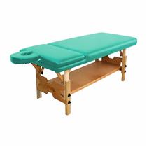 Maca De Massagem Fixa Reclinável Com Altura Regulável, Prateleira Inferior Spa Premium Reclinável - Shopfisio VERDE AGUA