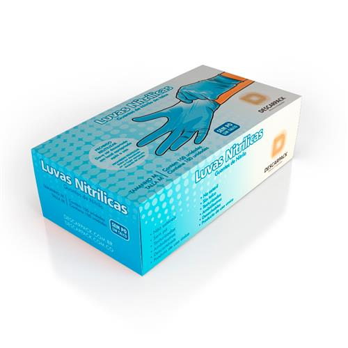 Luva Nitrílica Sem Pó Descartável Azul - Uso Médico Hospitalar - Cx C/ 100 Un - Descarpack