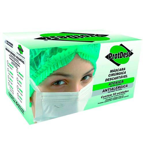 Máscara Descartável Tripla Elástico - Cx C/ 50 Un - Protdesc