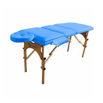 Maca De Massagem Portátil Reclinável Com Altura Regulável, Apoio Para Braço E Orifício Maleta Madeira Comfort - Shopfisio AZUL CÉU