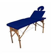Maca De Massagem Portátil Reclinável Com Altura Regulável E Orifício Maleta Madeira - Shopfisio AZUL NOTURNO