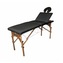 Maca De Massagem Portátil Reclinável Com Altura Regulável E Orifício Maleta Madeira - Shopfisio PRETO