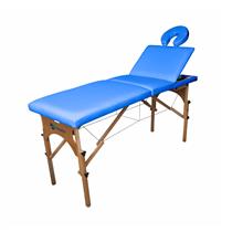 Maca De Massagem Portátil Reclinável Com Altura Regulável E Orifício Maleta Madeira - Shopfisio AZUL CÉU
