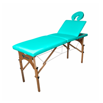 Maca De Massagem Portátil Reclinável Com Altura Regulável E Orifício Maleta Madeira - Shopfisio VERDE AGUA