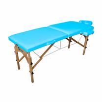 Maca De Massagem Portátil Com Altura Regulável, Apoio Para Braço E Orifício Maleta Madeira Comfort - Shopfisio AZUL CÉU